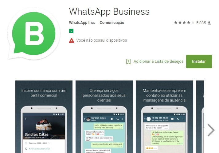 Imagem referente a pagina do aplicativo na loja para download | O que é o WhatsApp Business?